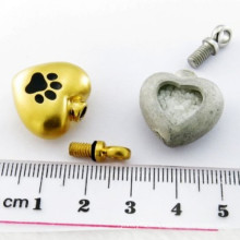 Paw Gold Heart Memorial Container Ash Animal Pet Urn